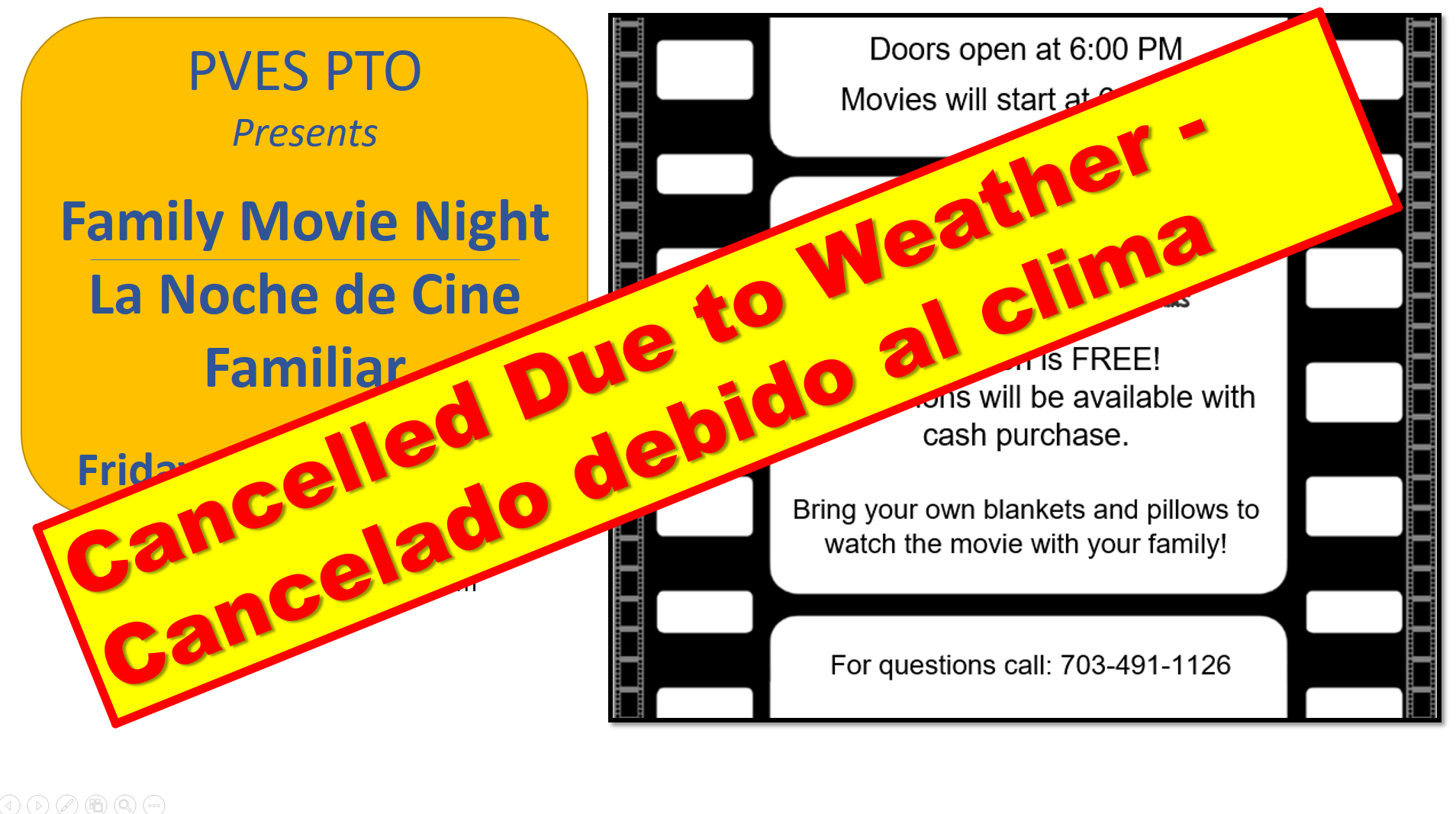 Family Movie Night is Cancelled due to weather